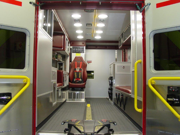 interior of new ambulance with Stryker power cot