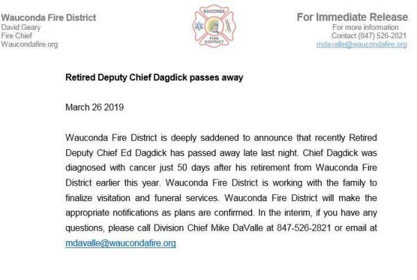 Passing of Wauconda Fire District Deputy Fire Chief Ed Dagdick