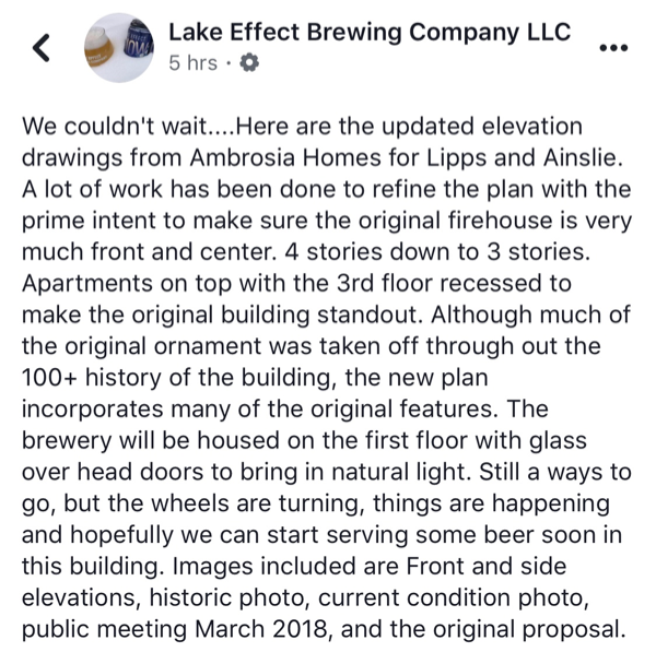 Lake Effect Brewing Company redeveloping former CFD fire house in Jefferson Park