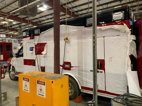 Production photos of a new Type III ambulance being built for the Schiller Park FD