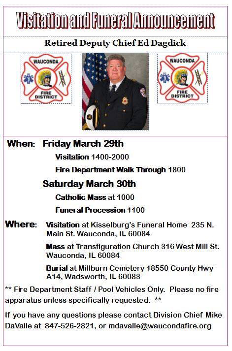 visitation and funeral arrangements for Deputy Chief Ed Dagdick