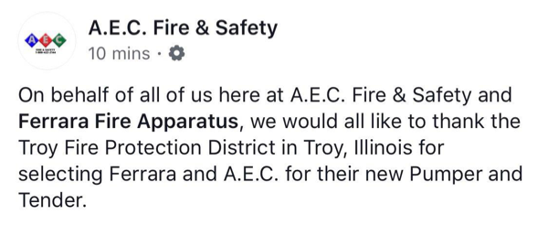 announcement of new fire trucks for the Troy FPD in Illinois