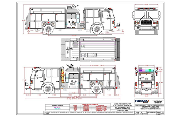 drawing of new Ferrara pumper for the Troy FPD in Illinois