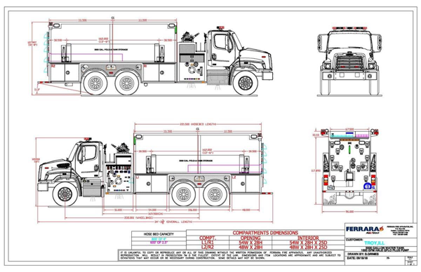 drawing of new Ferrara pumper/tanker for the Troy FPD in Illinois