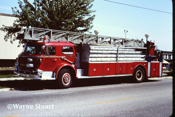 1970 American LaFrance 900 series 100' ladder with a  200-gallon booster tank. This one carried ALF serial # 2-1-2323.