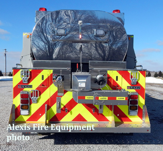 rear of new stainless steel elliptical  tanker fire truck