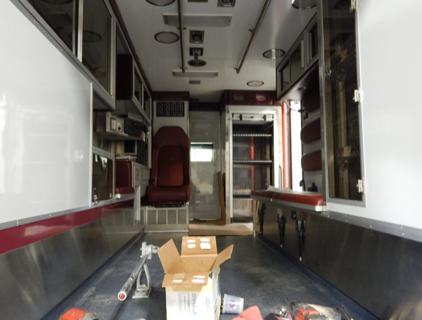 interior of Frankfort FPD ambulance reburb