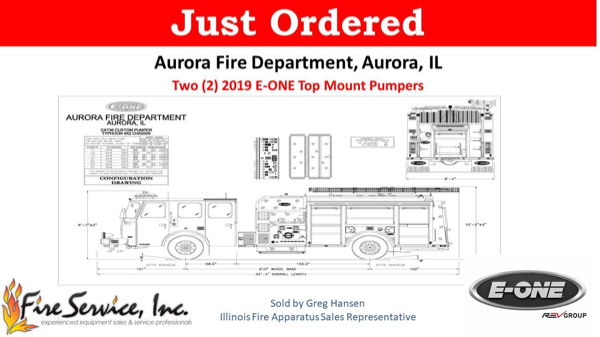 drawing of new E-ONE fire engine for Aurora FD