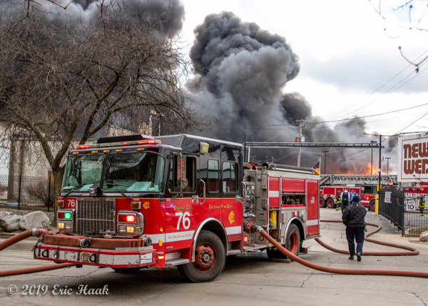 Chicago FD Engine 76 at fire scene