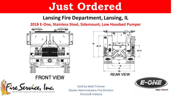 Drawing of a new E-ONE engine for the Lansing FD