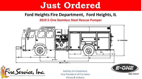 Drawing of a new E-ONE engine for the Ford Heights FD