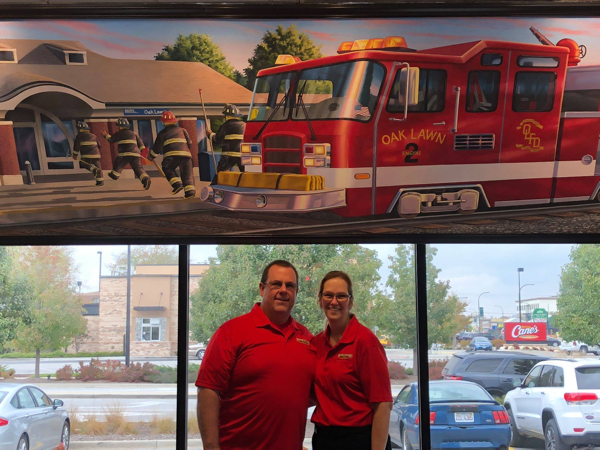 Retired firefighter Bret Jefferies and his wife Michelle own Firehouse Subs in Oak Lawn