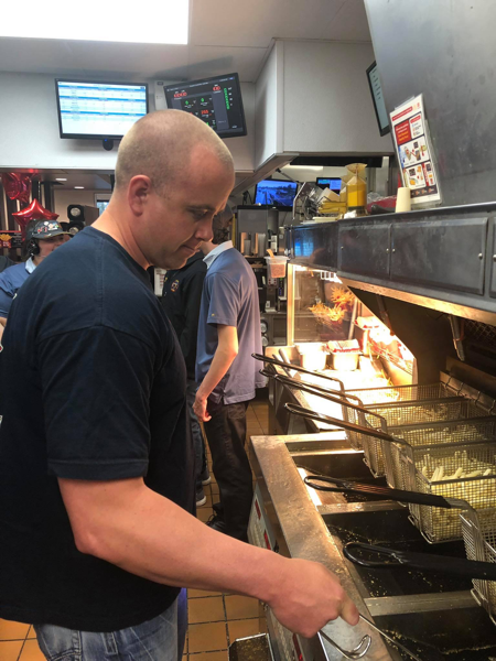 West Frankfort firefighters worked at a McDonald's restaurant to raise funds for the department