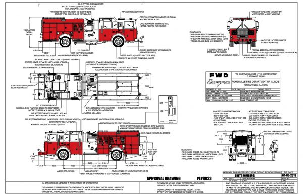 drawing of new Seagrave fire engine for the Romeoville Fire Department