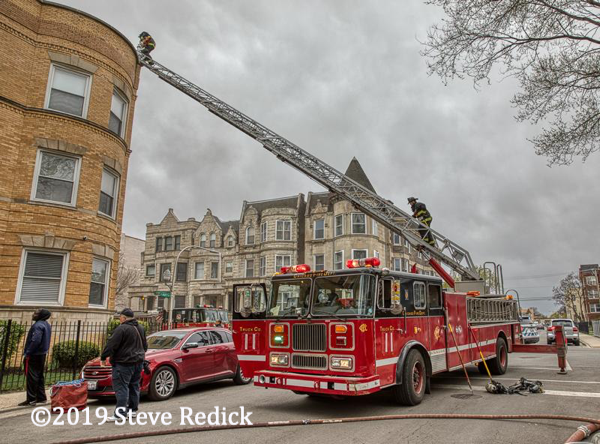 Chicago FD Seagrave aerial ladder at work