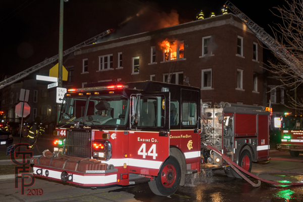 Chicago FD Engine 44 at a fire scene