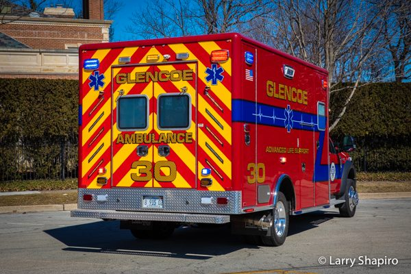 Glencoe Public Safety Ambulance 3 rear chevron striping and lighting