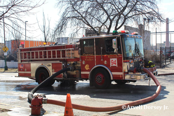 spare HME Luverne fire engine working in Chicago