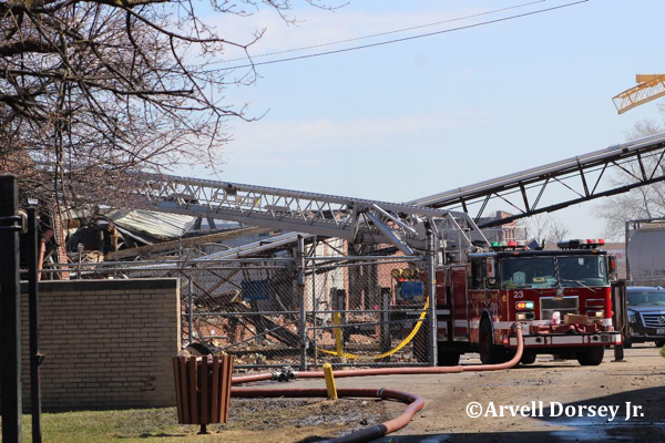 Aftermath of massive fire that destroyed Newlyweds Foods in Chicago 4/2/19.