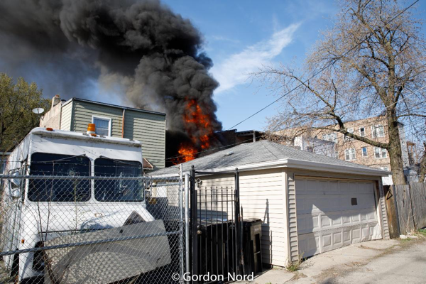 rear porches on fire in Chicago