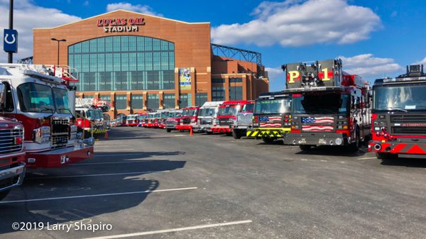 FDIC 2019 apparatus staging at the Lucas Oil Stadium in Indianapolis