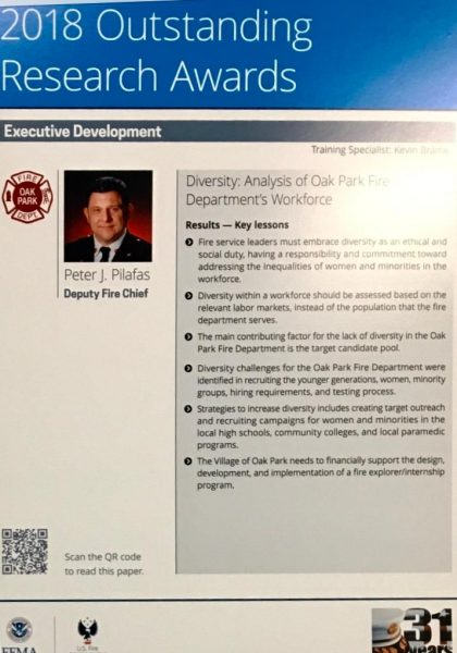 Oak Park FD Deputy Chief Peter Pilafas receives Executive Fire Officer Outstanding Research Award