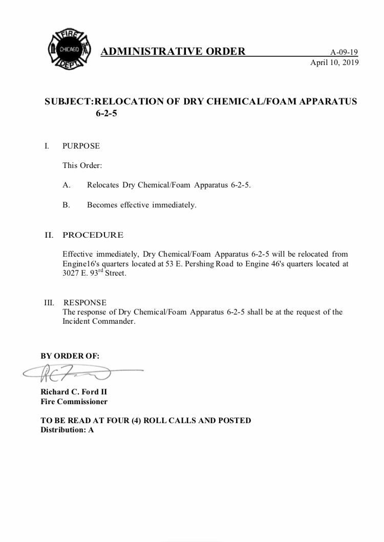 CFD Administrative Order A-09-19