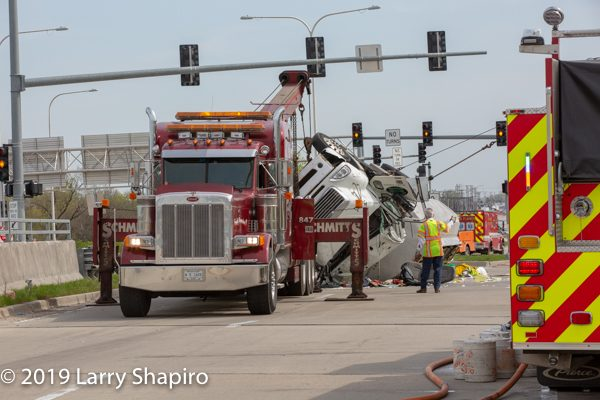 Overturned tanker truck uprighted by Schmitt's Truck Repair