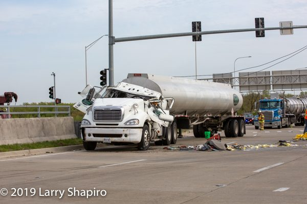 damaged tanker after being uprighted