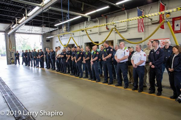 Firefighters line up to honor retiring Firefighter