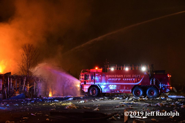 Waukegan FD ARFF unit works at the Fatal explosion and fire at the AB Specialty Silicones plant at 3790 Sunset Ave. in Waukegan IL 5/3/19