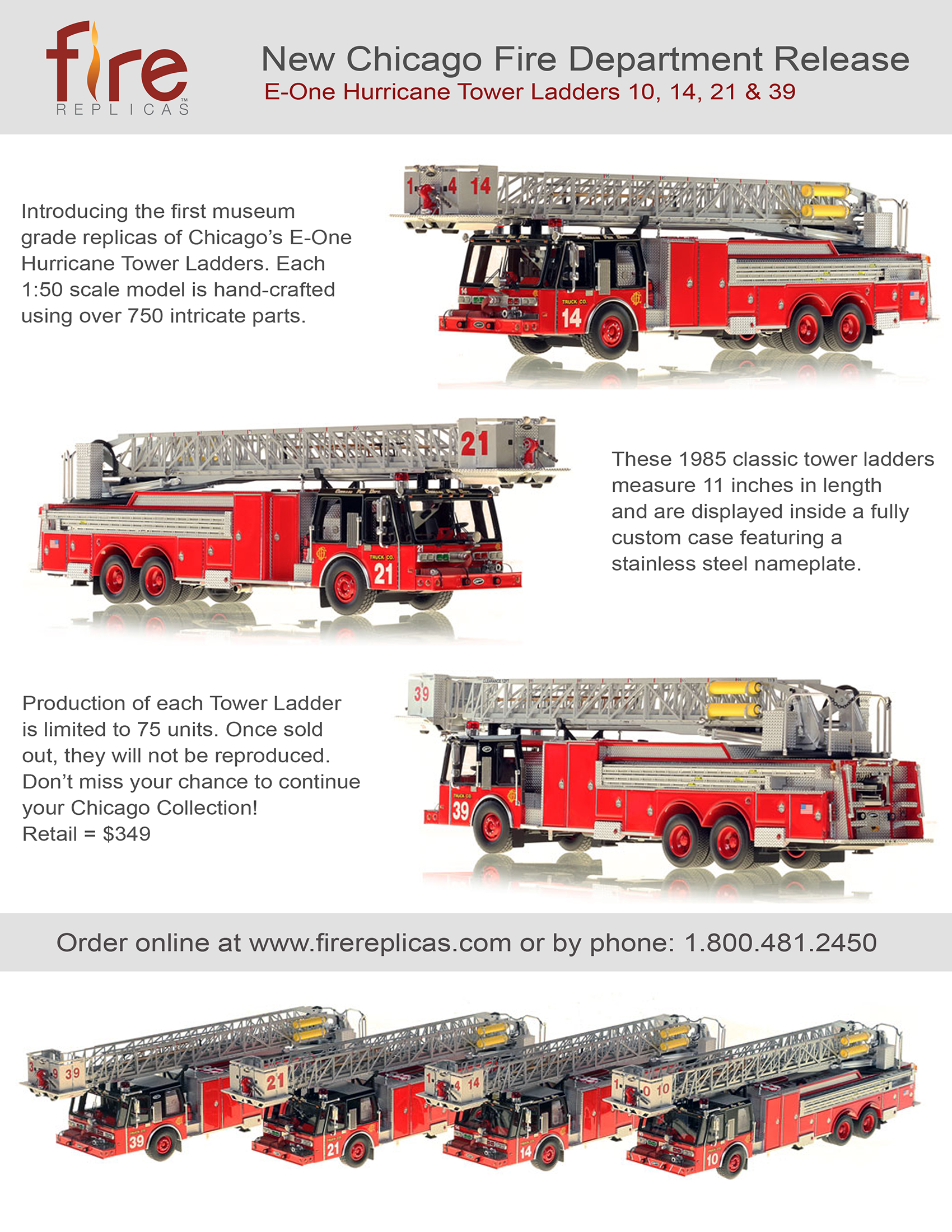 Chicago FD 1985 E-ONE tower ladder replica models
