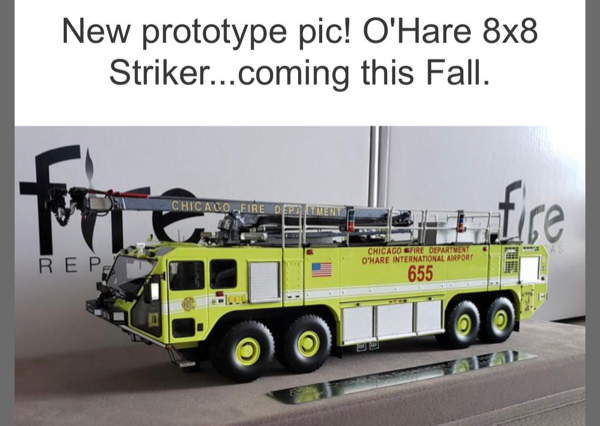 Fire Replicas model of Chicago FD ARFF 655 at O'Hare Airport Oshkosh Striker 8x8
