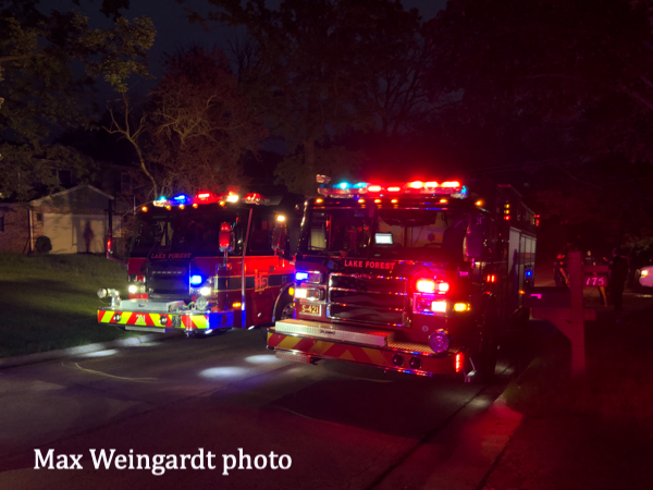 Lake Forest FD fire engines at night