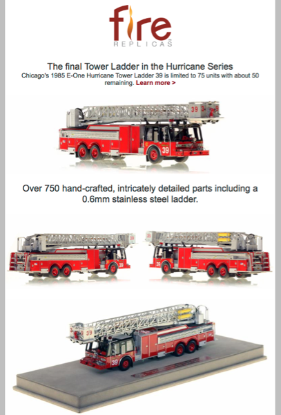 Chicago FD 1985 E-ONE tower ladder replica model of Tower Ladder 39