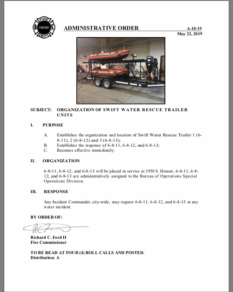 Chicago FD Administrative Order A-10-19