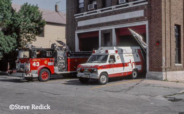 old Chicago fire house with pumper and ambulance