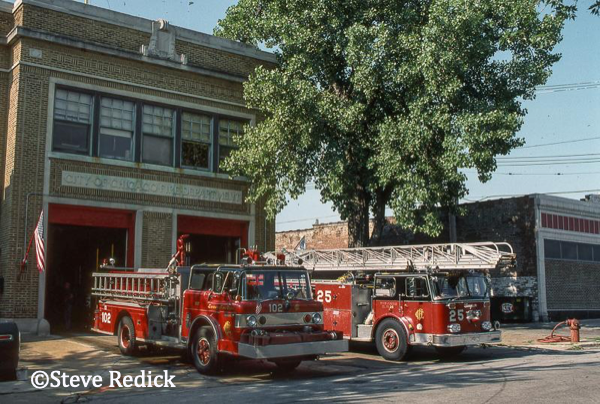 vintage Chicago fire trucks at fire station