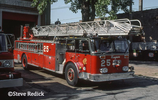 vintage Seagrave ladder truck in Chicago