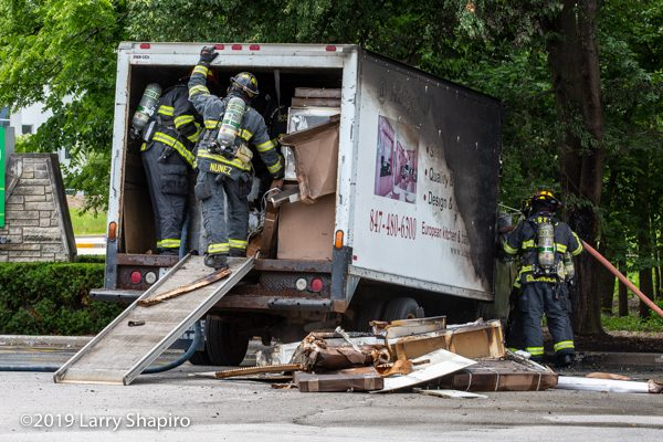 small box truck destroyed by fire