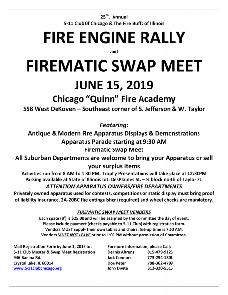 2019 Chicago Fire Muster and Swap Meet held at the Quinn Fire Academy
