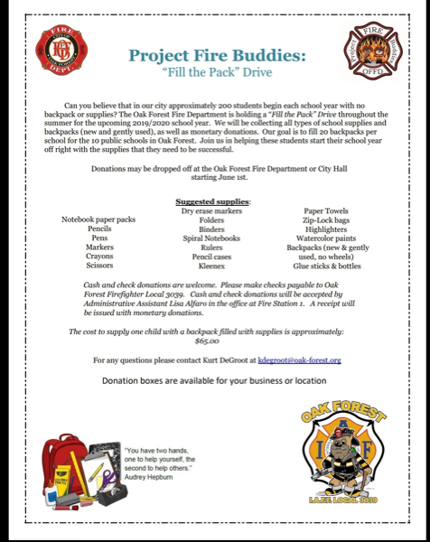 Project Fire Buddies in Oak Forest Illinois