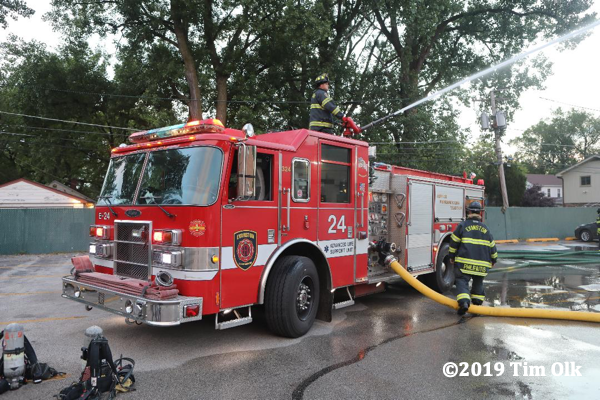 Evanston FD pumper at fire scene