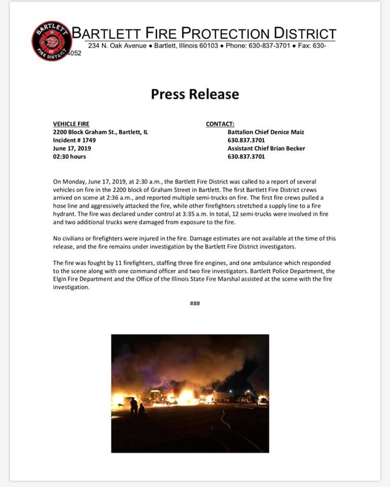 Bartlett FPD press release