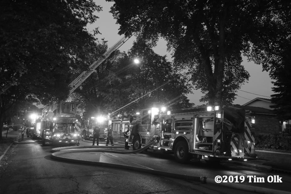 Evanston fire trucks on scene