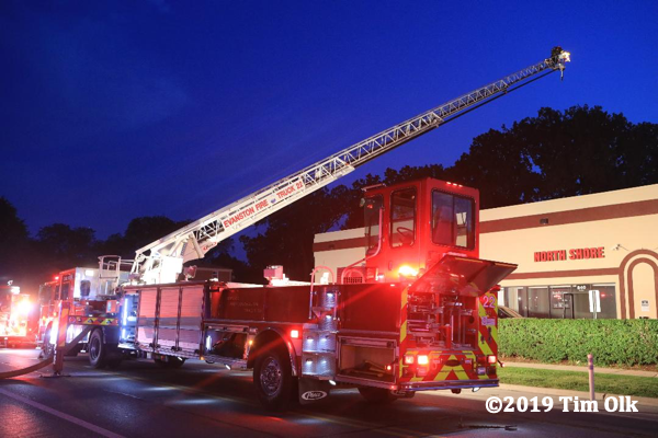 Evanston FD ladder truck at fire scene