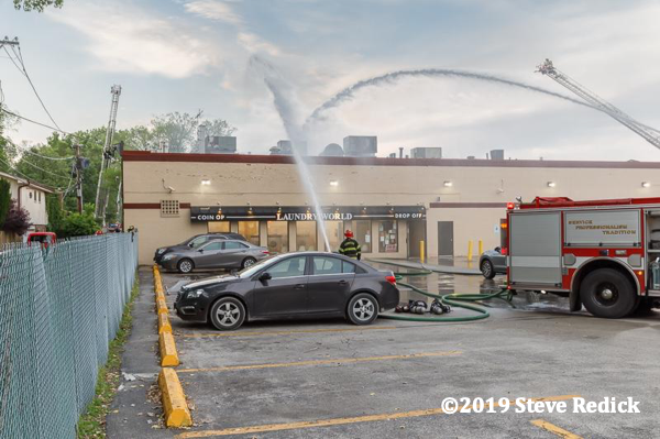 fire in a commercial strip mall