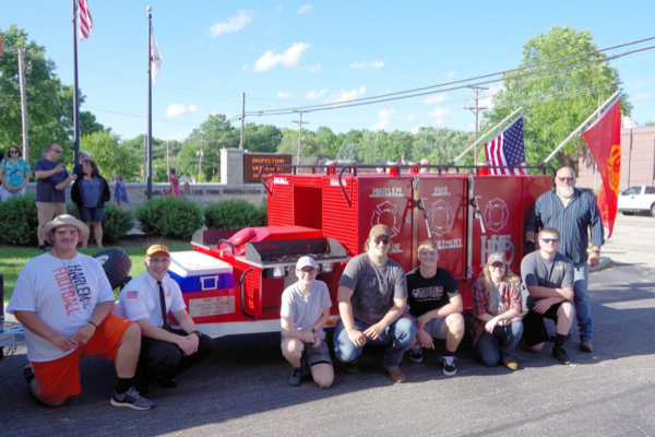 Harlem High School welding class built that a custom grill for the fire department