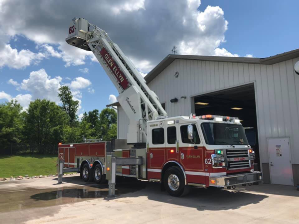 Glen Ellyn Volunteer Fire Company's new Rosenbauer America mid-mount 100' aerial platform