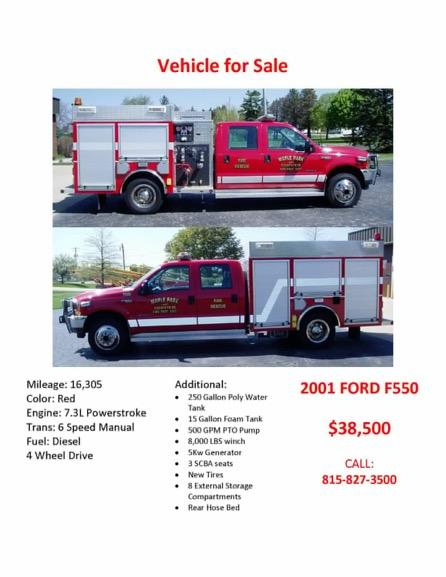 Maple Park FPD fire truck for sale